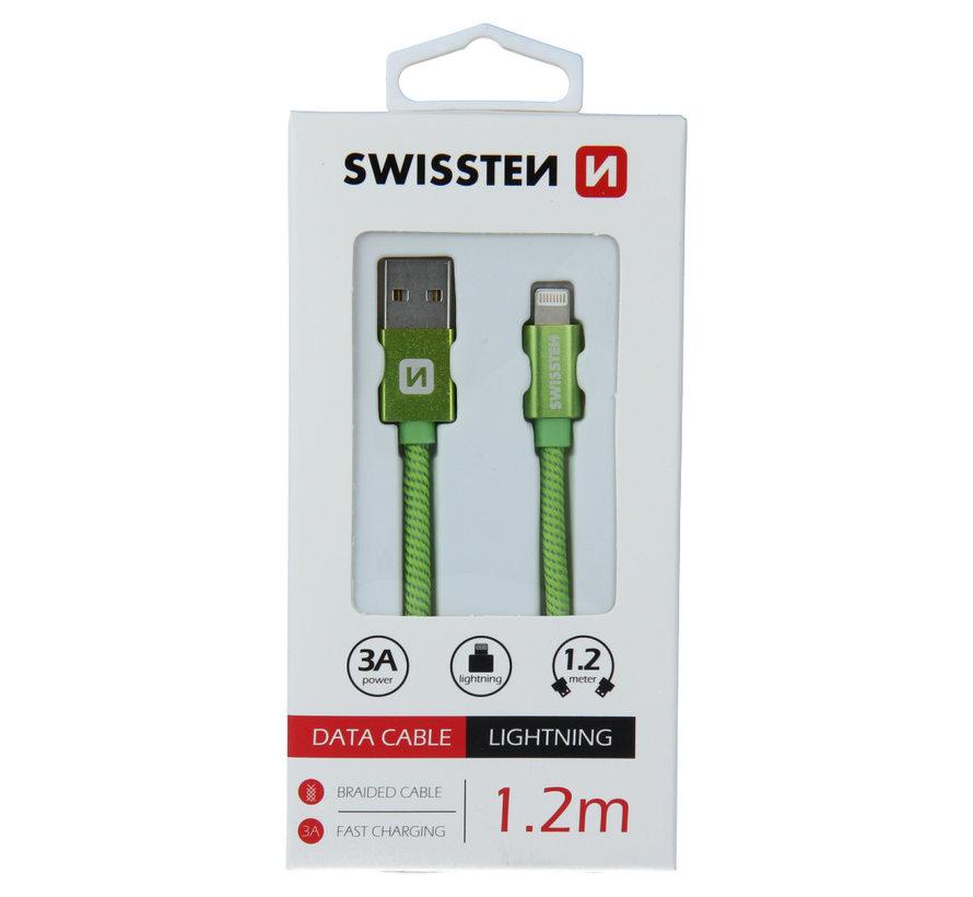 Swissten Lightning naar USB Kabel 1.2 Meter Groen