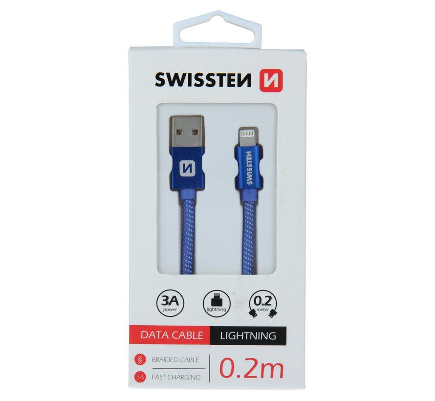 Swissten Lightning  naar USB Kabel 0.2 Meter Blauw