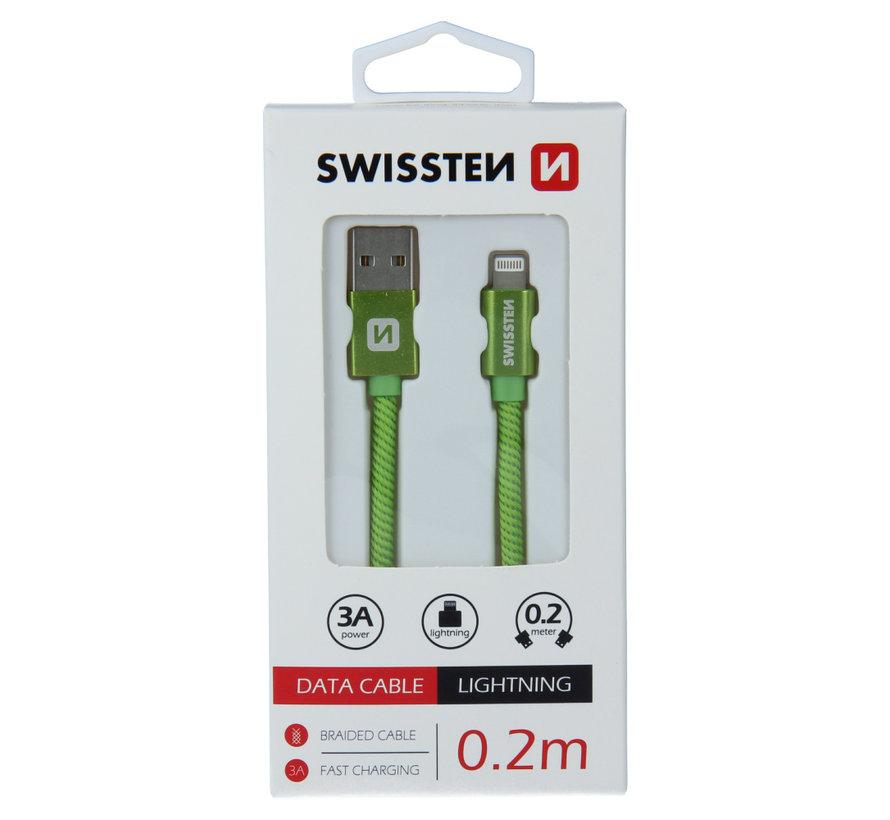 Swissten Lightning naar USB Kabel 0.2 Meter Groen