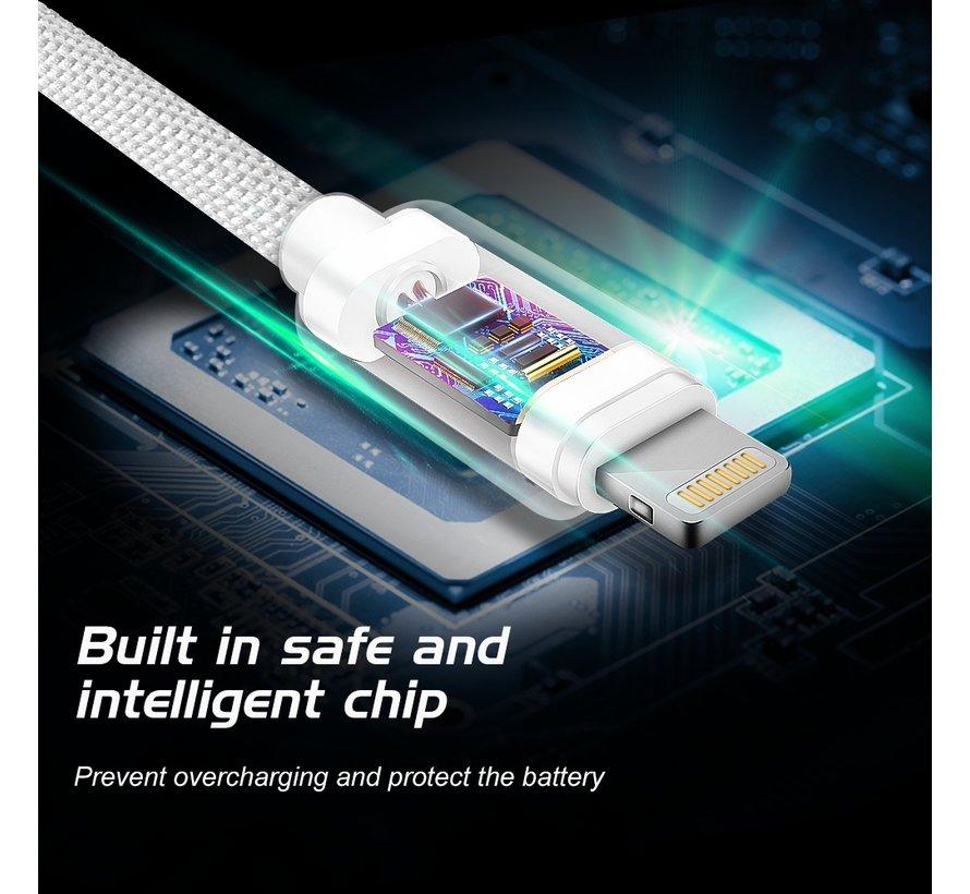 Swissten Lightning naar USB Kabel 0.2 Meter Zilver