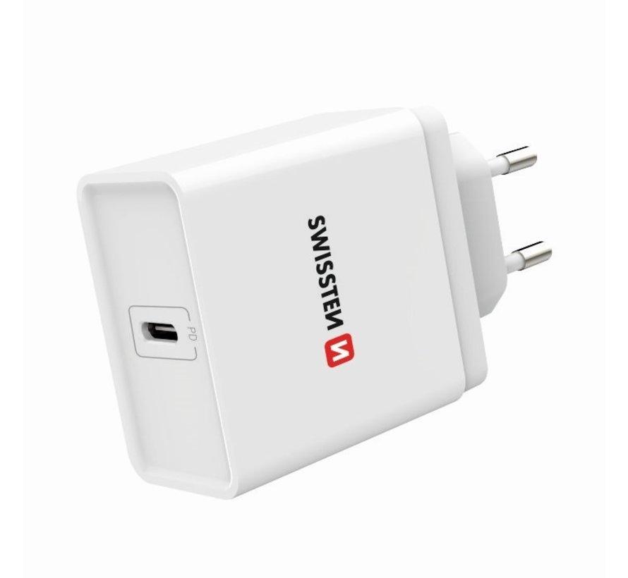 Swissten Snellader Fast Charge USB-C PD 18W Wit