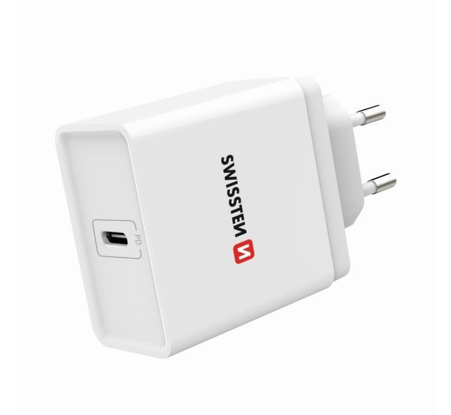 Swissten Thuislader Fast Charge USB-C PD 18W Wit