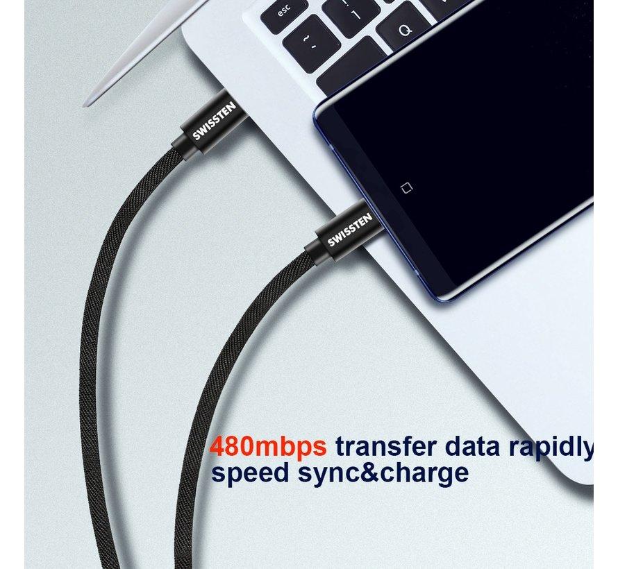 Swissten USB-C naar USB-C Kabel 1.2M Zwart