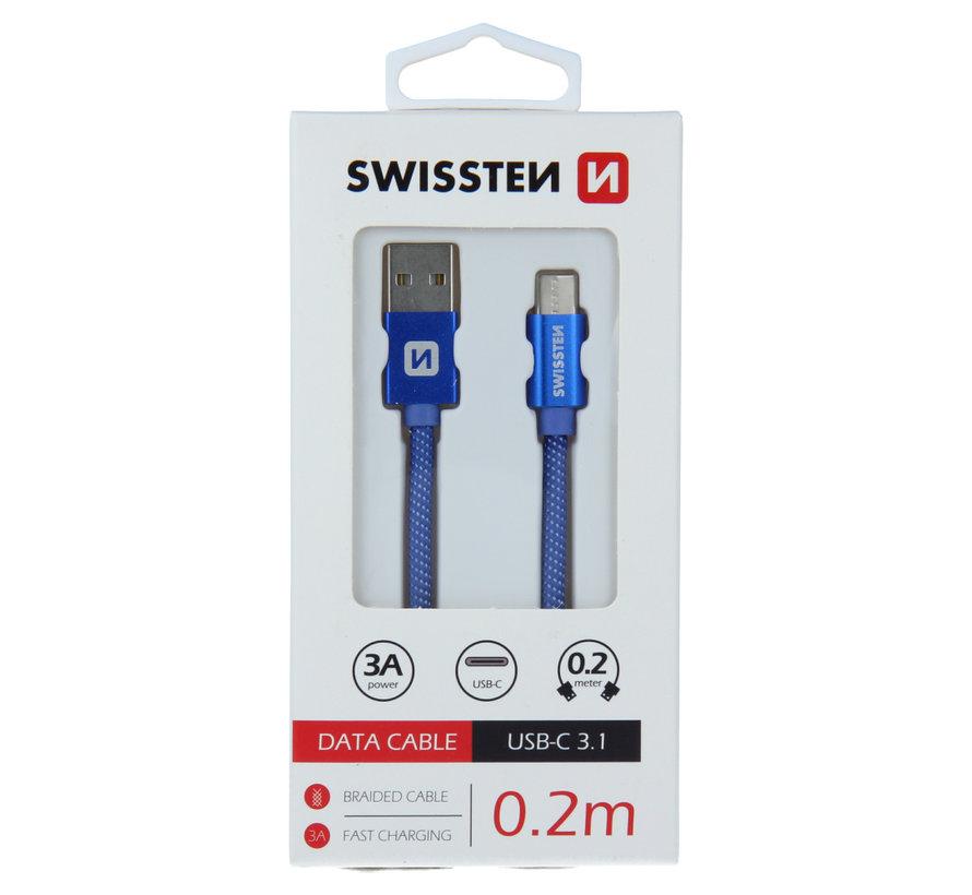 Swissten USB-C 3.1 naar USB Kabel 0,2M Blauw