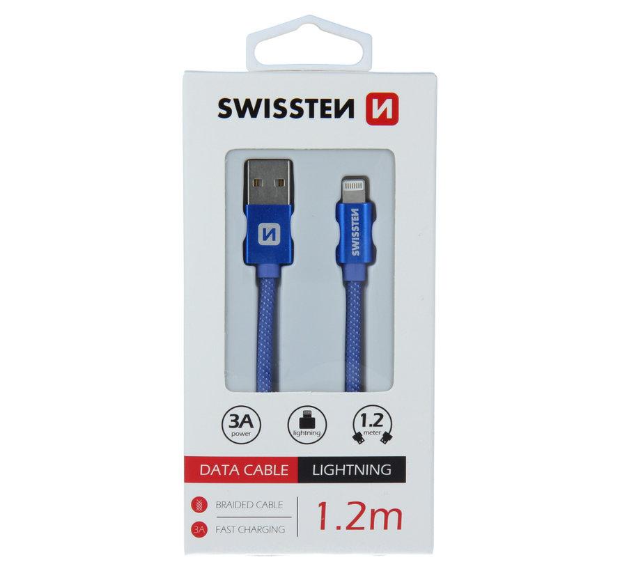 Swissten Lightning naar USB Kabel 1.2M Blauw