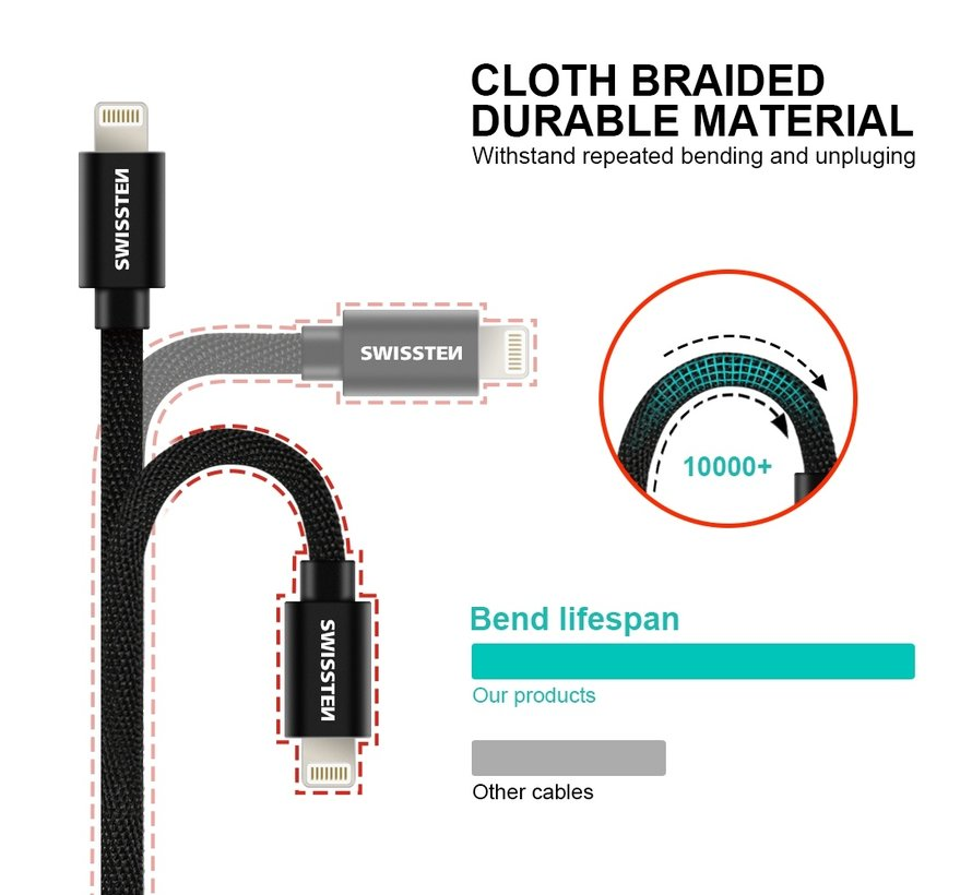 Swissten Lightning naar USB-C Kabel 1.2M Grijs