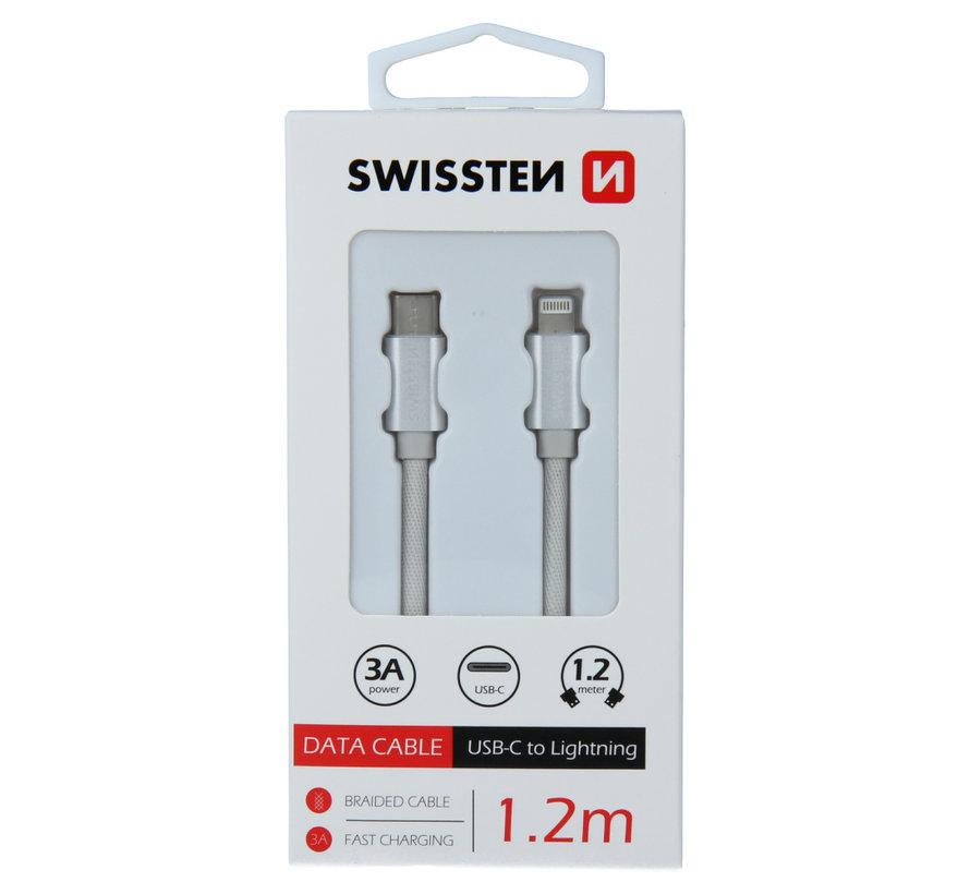 Swissten Lightning naar USB-C Kabel 1.2M Zilver
