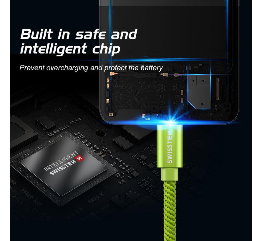 Swissten USB-C naar USB-A Kabel 0.2M Groen