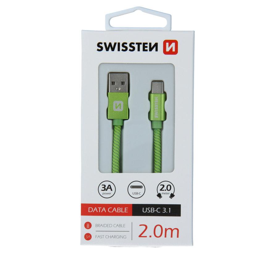 Swissten USB-C naar USB-A Kabel 2M Groen