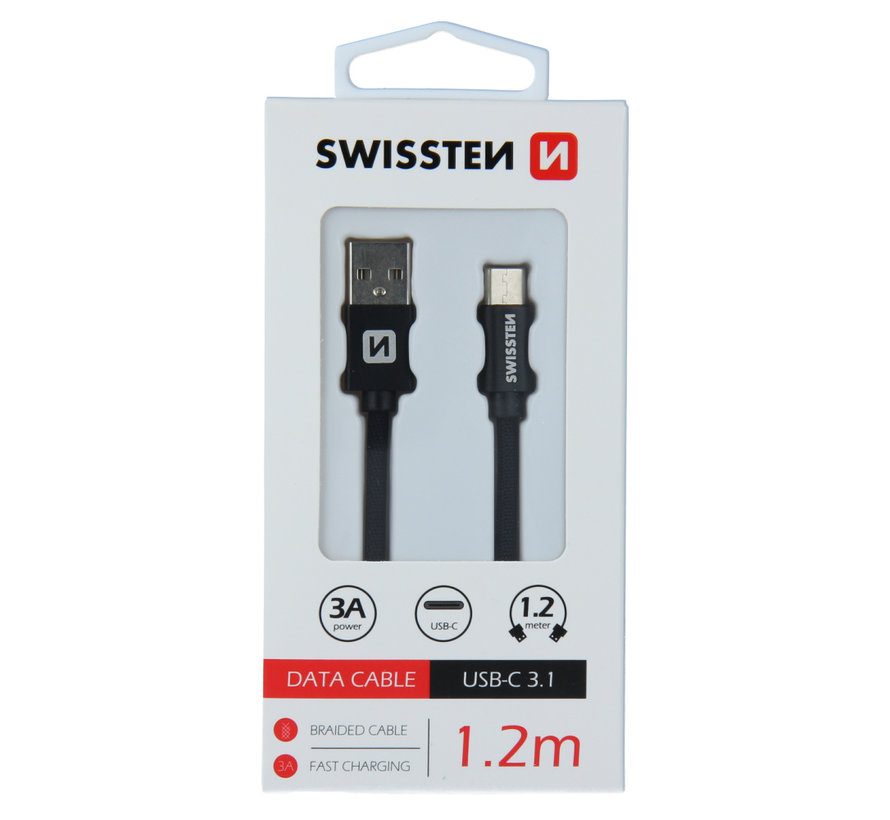 Swissten USB-C naar USB-A Kabel 1.2M Zwart