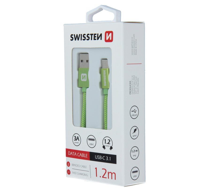 Swissten USB-C naar USB-A Kabel 1.2M Groen