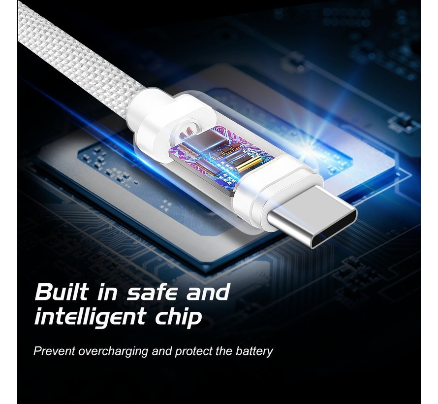 Swissten USB-C naar USB-C Kabel 1.2M Grijs