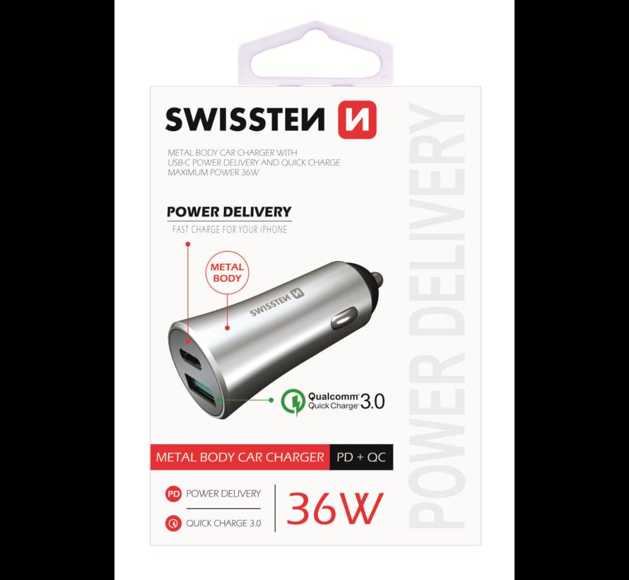 Swissten Autolader USB-C Poort + Quick Charge 3.0 USB Poort 36W Snel Laden Zilver