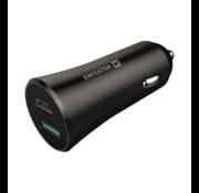 Swissten Autolader USB-C Poort + Quick Charge 3.0 USB Poort 36W Snel Laden Zwart