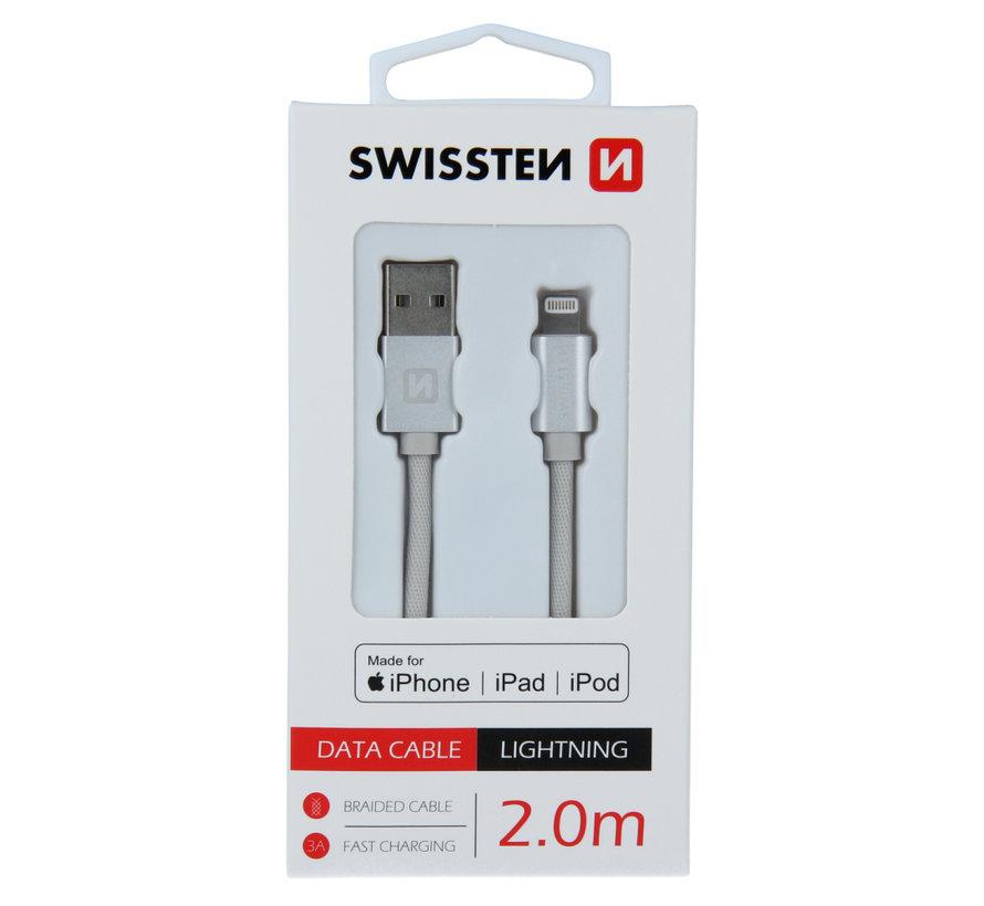 Swissten Lightning naar USB kabel voor iPhone/iPad - Apple Gecertificeerd - 2M - Zilver