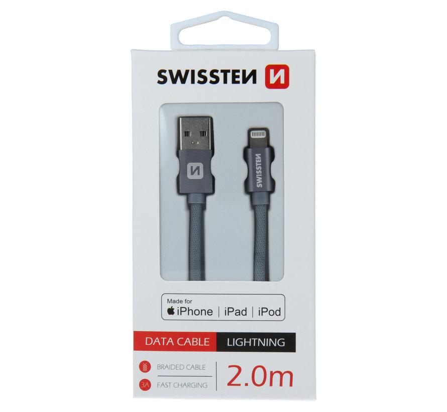 Swissten Lightning naar USB kabel voor iPhone/iPad - Apple Gecertificeerd - 2M - Grijs
