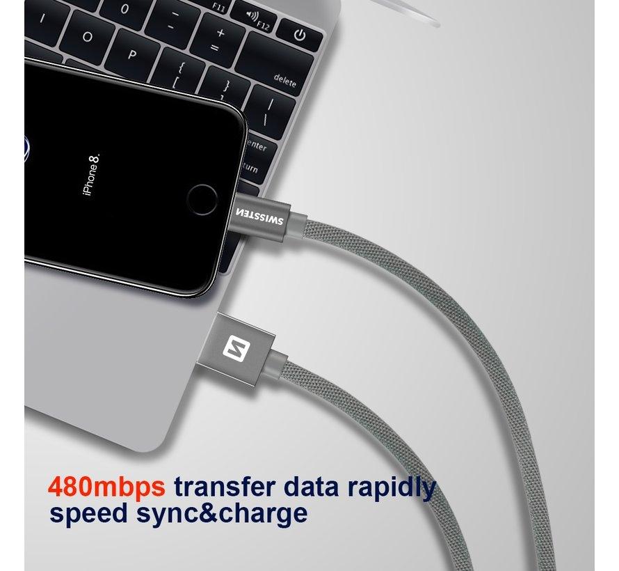 Swissten Lightning naar USB kabel voor iPhone/iPad - Apple Gecertificeerd - 2M - Zwart