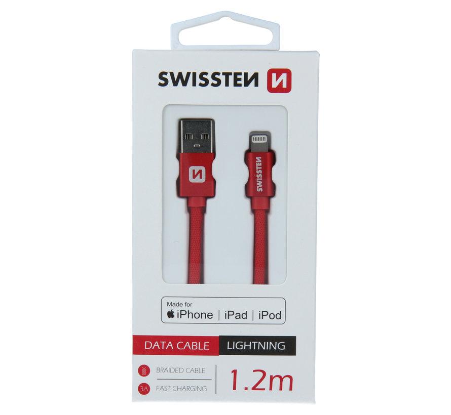 Swissten Lightning naar USB kabel voor iPhone/iPad - Apple Gecertificeerd - 1.2M - Rood