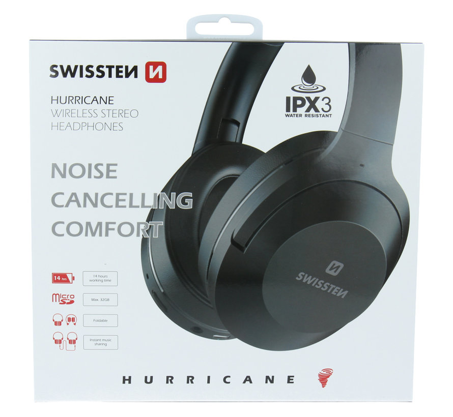 Swissten Hurricane - Draadloze over-ear koptelefoon met Noise Cancelling - Zwart