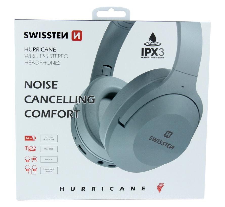 Swissten Hurricane - Draadloze over-ear koptelefoon met Noise Cancelling - Grijs