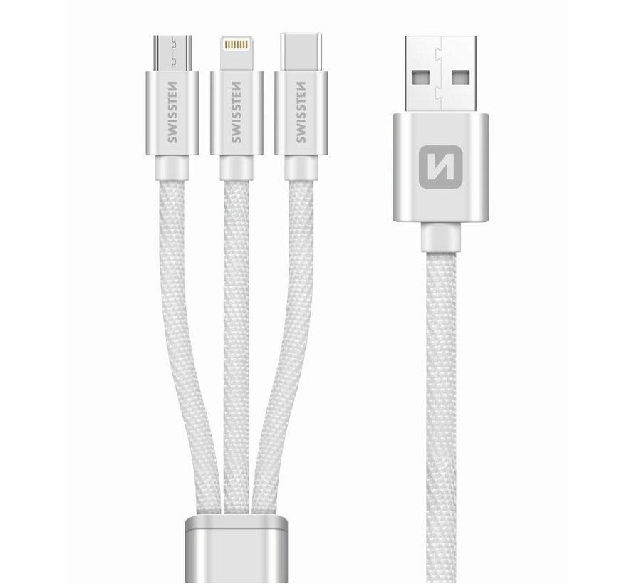 Swissten 3 in 1 kabel - Micro USB / USB-C / Lightning kabel - Gecertificeerd door Apple - 1.2M - Zilver