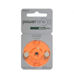 PowerOne Oplaadbare hoorbatterijen P13 Oranje  accuplus Ni-MH 2 stuks
