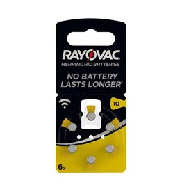 Rayovac P10 Acoustic Hearing Aid Zinc-Air blister 6 GEEL