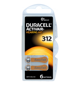 Duracell 6 stuks DA312 bruin hoorapparaat batterij