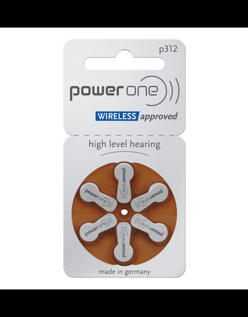PowerOne 60 stuks bruin P312 hoorapparaat batterij