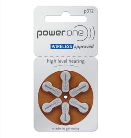 PowerOne 6 stuks P312 bruin hoorapparaat batterij