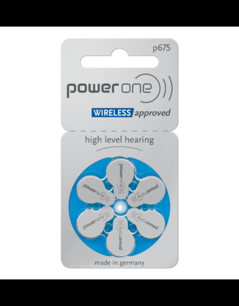 PowerOne blauw P675 hoorapparaat batterij (6 stuks)