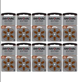 Rayovac 60 stuks 312AU Extra hoorapparaat batterij BRUIN