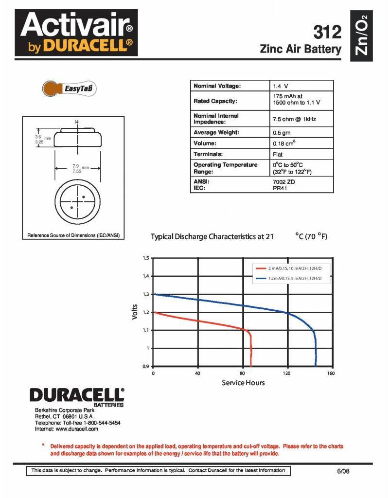 Duracell DA312 bruin hoorapparaat batterij (6 stuks)