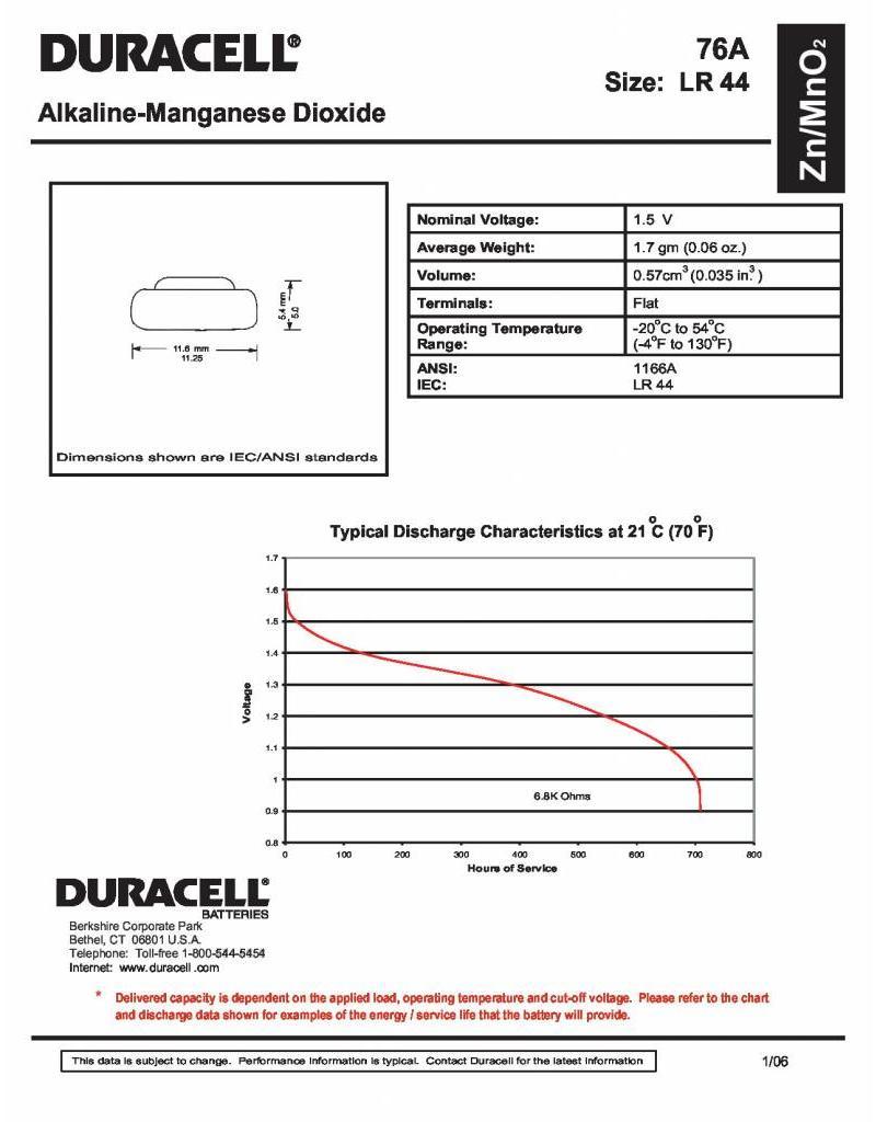Duracell Knoopcel batterij LR 44 blister 2