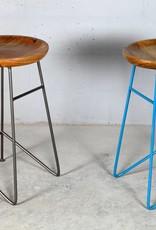 Jabulo Design Barhocker Louis Retro Metall Holz Industrial Vintage light blue