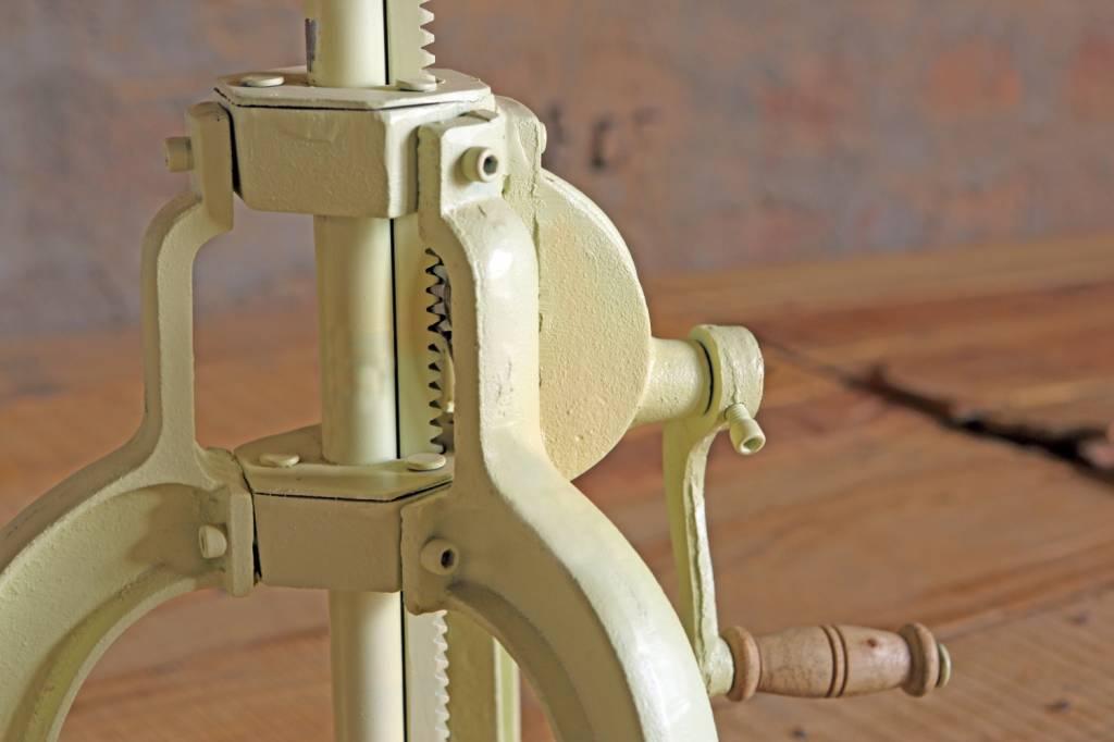 Jabulo Industrial Hocker Barhocker höhenverstellbar mit Kurbel Drehhocker Vintage retro créme