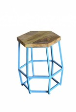 Jabulo Industrial Barhocker Hocker Hexi light blue Retro Metall Holz Vintage