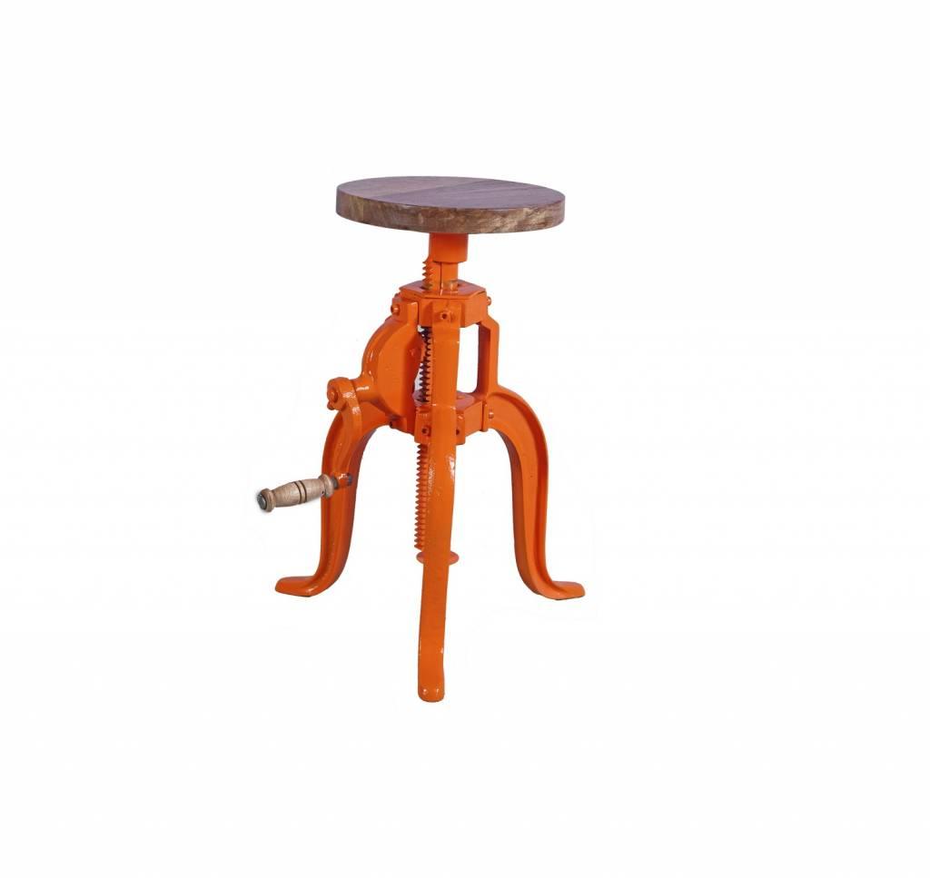 Jabulo Industrial Hocker Barhocker höhenverstellbar mit Kurbel Drehhocker Vintage retro Orange