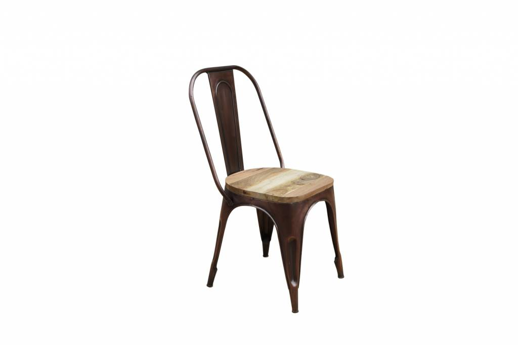 Jabulo Industrial Tolix Stuhl Detroit bronze mit Sitzfläche aus Holz