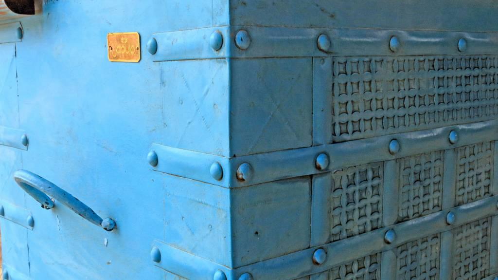 Jabulo Vintage Truhe Fleurac hellblau Schatztruhe Shabby Chic Truhe zum verstauen