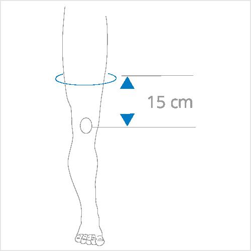 15 cm boven de knie