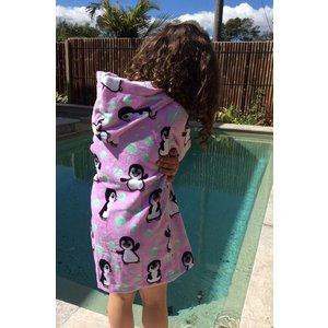 Back Beach Co Kids Beach Robe Pink Penguin
