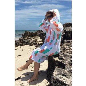 Back Beach Co White Geometric dames badjas met capuchon