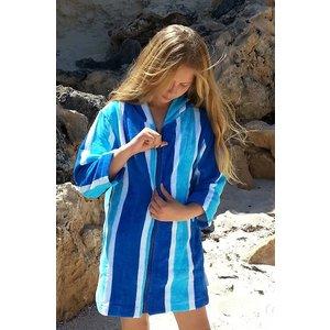 Back Beach Co Blue Stripe dames badjas met capucho