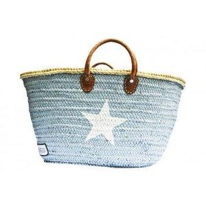 Twenty Violets Straw Beach Bag Maxi Grey White Star