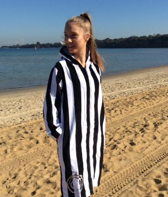 0528f9934c94c1 Back Beach Co Classic Stripe dames badjas met capuchon