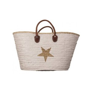 Twenty Violets Straw Beach Bag Maxi White Gold Star