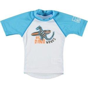 Sonpakkie UV Zwemshirt ´Big dino´ wit met azuurblauw