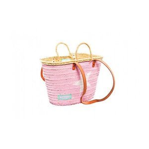 Twenty Violets Straw Beach Bag Pink White Star (Mini Maxi)