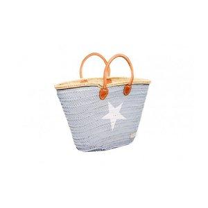 Twenty Violets Straw Beach Bag Grey - Star in white (Mini Maxi)